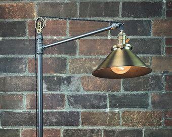 Floor Lamp  Industrial Style  Steel Shade  Industrial