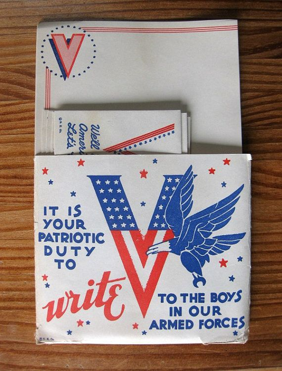 Each set contains 10 sheets of V (for victory, of course!) paper and 10 envelopes, which proclaim Well win, America... Lets go! The paper sheets measure 9.5 x 6 inches, and the envelopes measure 6.5 x 3.25. It comes in its original packaging with patriotic slogan, and a bald eagle by a stars-and-stripes V. It is your patriotic duty to write to the boys in our armed forces, proclaims this 70-year-old WWII stationery. This is an original vintage item from 1942. Considering they are 70 yea...