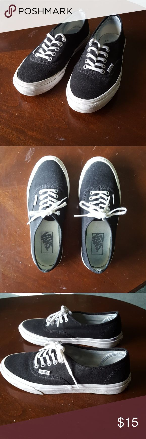Vans black with white Black and white vans are a womens 5.5 and mens 4. Have been worn and show some signs of wear, but in great shape except for a few flaws including the pen ink shown on the heel of the right shoe, and front of the left shoe, as well as some light dirt stains on the whites. Bottoms of shoes are both very clean. Vans Shoes Sneakers