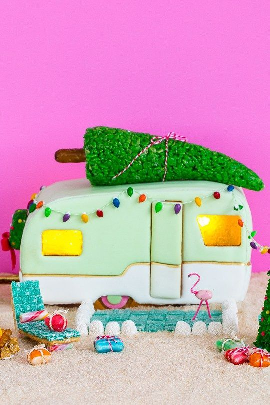 So clever!  DIY retro camper gingerbread house and recipe - sugar and cloth