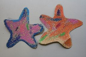 Coloring on sandpaper. Starfish shapes