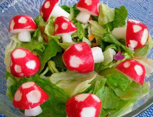 radish mushrooms >> Too cute!: Salad, Cute Ideas, Parties, Food, Paper Ponies, Mario Bros, Fun, Super Mario, Radish Mushrooms