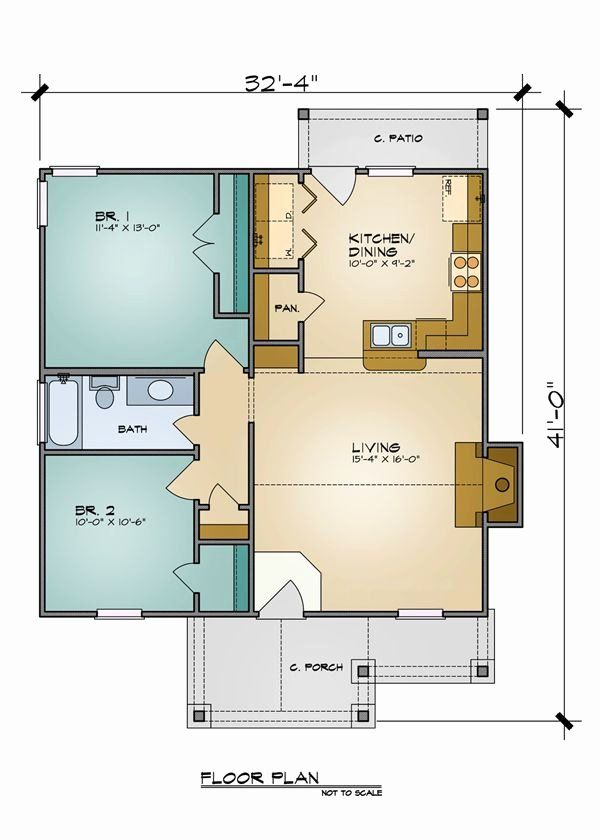 2 Bedroom Bungalow House Plans Inspirational The Aiden 7105 2 Bedrooms And 1 5 Baths In 2020 Guest House Plans Small House Plans 2 Bedroom House Plans