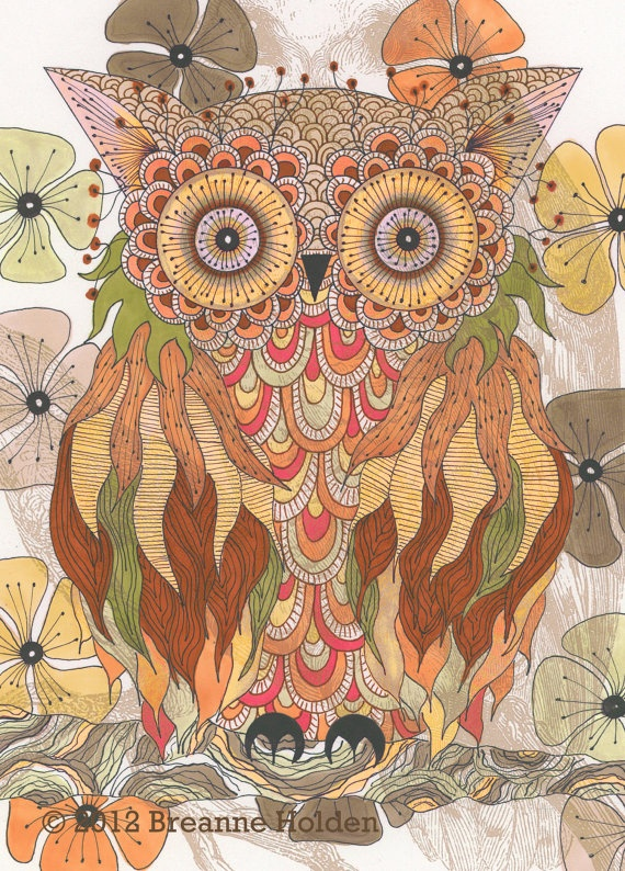 Whimsical Owl Painting by breanneholden: Illustrations Archives, Owl Paintings, Owl Illustrations, Whimsical Owl, 10 Flynn, Artists Breann, Zentangle Owl, Archives Prints, Paintings Illustrations
