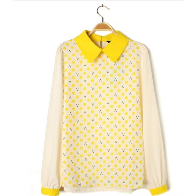 Sweet Polka Dots Pullover Shirt for Women - Blouses & Shirts