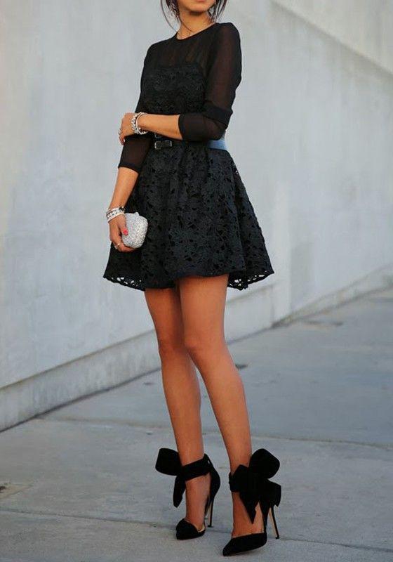 Black Patchwork Grenadine Lace Long Sleeve Dress