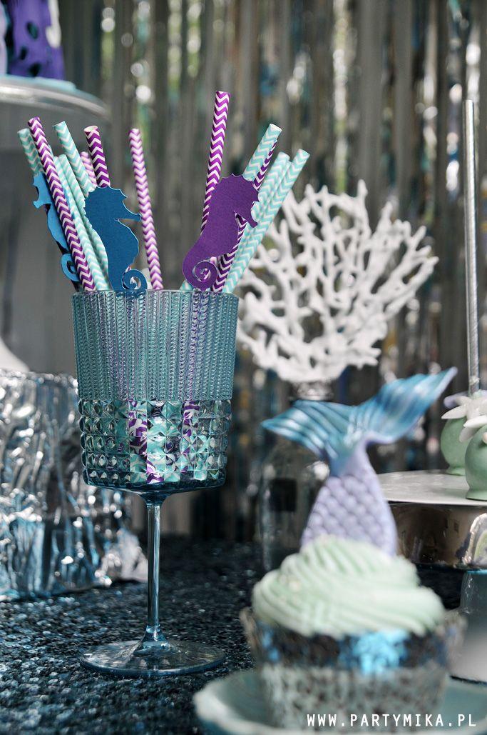 Urodziny Małej Syrenki Mermaid Party Papierowe słomki, paper straws Piękne dekoracje na urodziny!