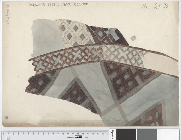 Oseberg Findings from folder 'Oseberg textiles - textile fragment no. 21, 24' textile fragment 21 B. watercolor by O. Geelmuyden. Dimensions: W: 35.5 cm, H: 25.5 cm.