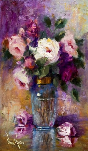 'Roses In Blue Vase'