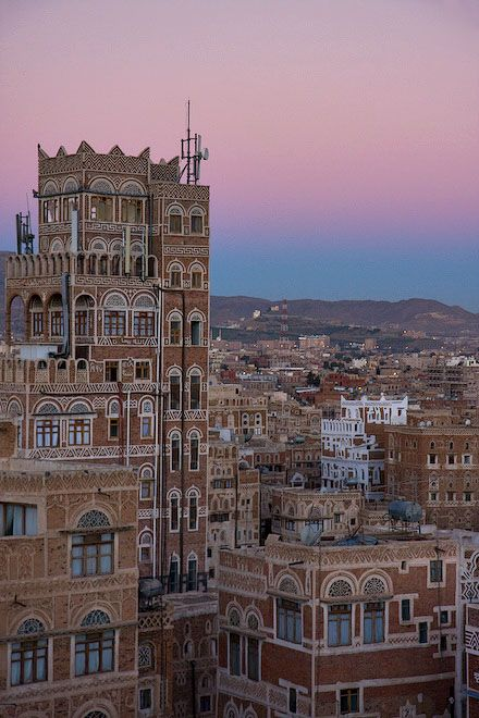 Yemen's old city of Sana'a, a UNESCO World Heritage Site, has a distinctive visual character due its unique architectural characteristics, most notably expressed in its multi-storey buildings decorated with geometric patterns.