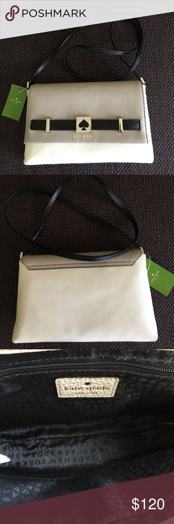 "NWT Kate Spade Houston Street Crossbody NWT Kate Spade Houston Street Crossbody. Cream/Black and Taupe Leather. Inside is black and has 1 zip compartment and 1 regular compartment. Approx 10.5"" x 7"". kate spade Bags Crossbody Bags"