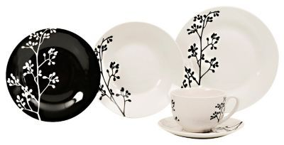Vajilla Porcelana 30 piezas Rama Negra Stylo