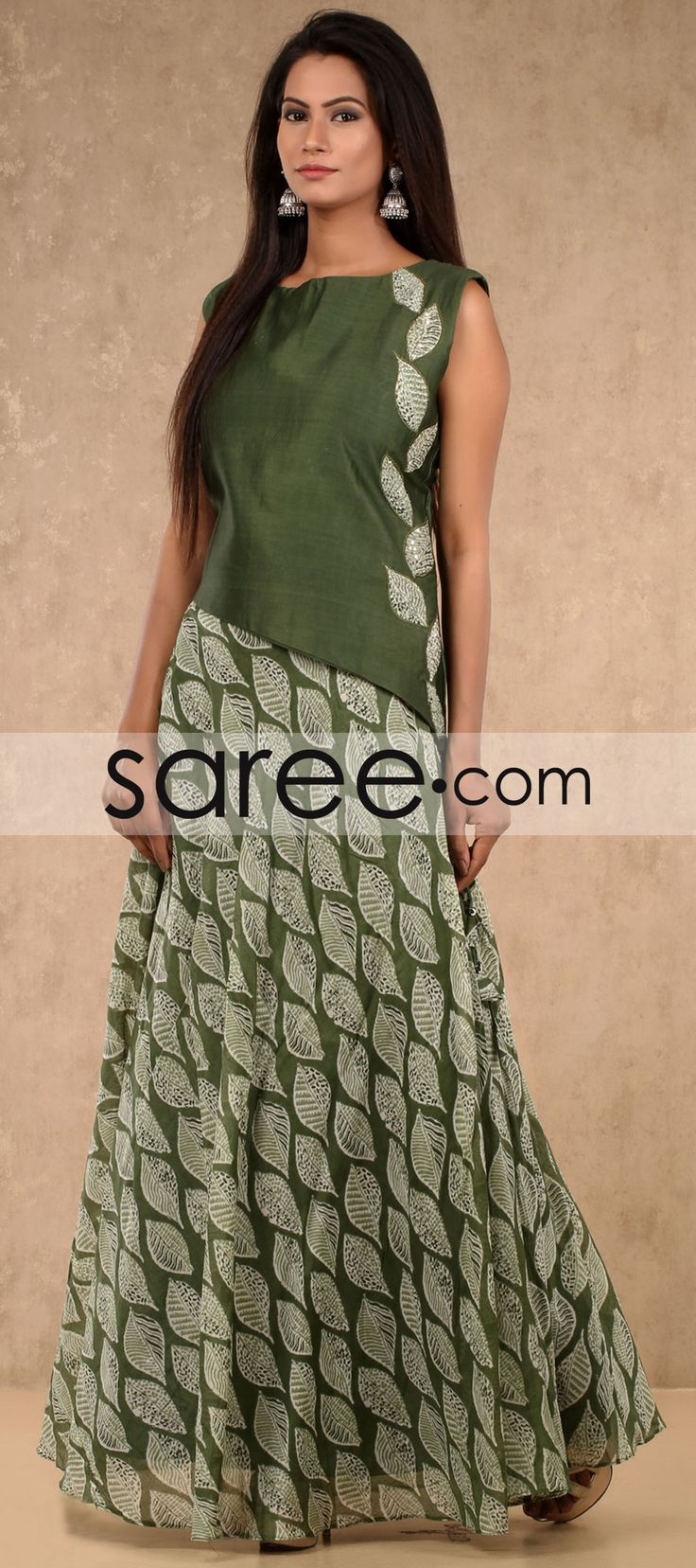 Green Cotton Silk Floor Length Printed Kurti