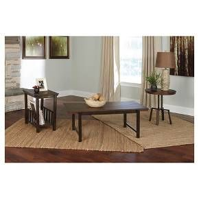 • This set's unique shapes are well-matched to suit any decor. Beautifully burnished tabletops are counterbalanced by rustic metal bases. One of the end tables includes a lower shelf to house periodicals and other chairside essentials. Signature Design by Ashley is a registered trademark of Ashley Furniture Industries, Inc.