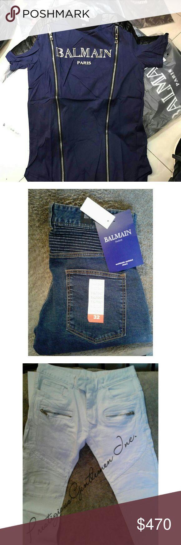 4 peice Balmain bundle Blue balmain tee with zippers Blue demin balmain jeans Black balmain jeans White balmain jeans Balmain  Jeans Slim Straight