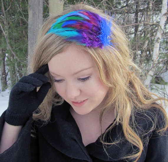 bloomer  Eclectic Feather Headband in Blue by SHOWYOURbloomers, $35.00