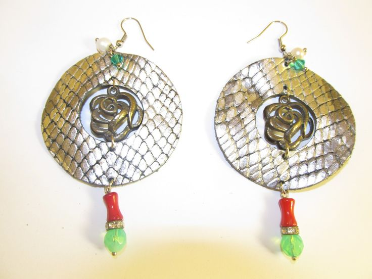 Handmade leather earrings (1 pair)  Made with silver/black leather, metal flower, metal rondell with crystals, corals, freshwater pearls and glass beads.