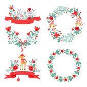 Красочные рождественские баннеры и лавры с цветами птицы оленей остролисты и листья — стоковый вектор #87798918