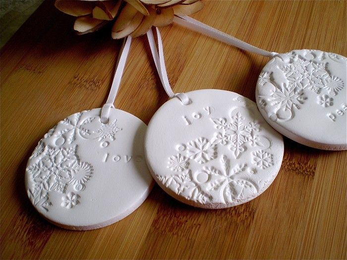 Snowflakes - Embossed Christmas Tags/Decorations - Love, Joy, Peace - White Clay - by redpunchbuggy on madeit