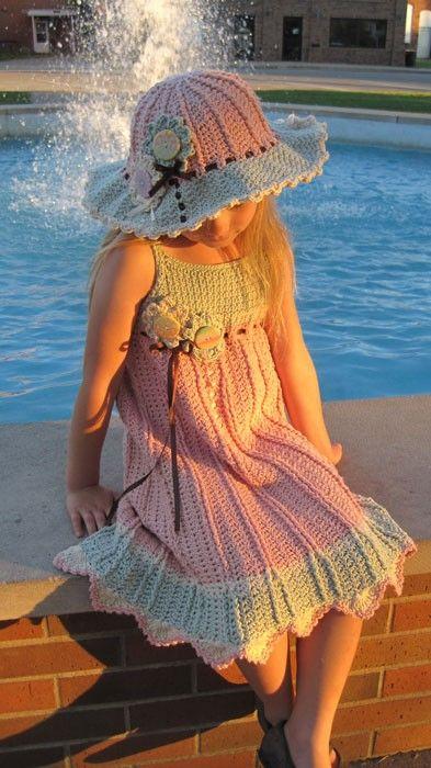 Juliet Dress - Crochet Pattern Sundress and Sunhat, Sizes 6 mos - girls size 10