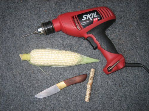 diy corn cob pipe supplies drill knife