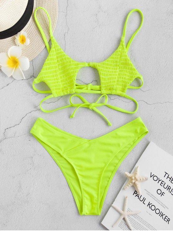 c27d33902e8967  19% OFF   POPULAR  2019 ZAFUL Shirred Strappy Neon Bikini Set In