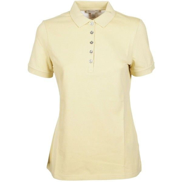 Front Button Polo Shirt (8,760 PHP) ❤ liked on Polyvore featuring tops, lemon, button front top, polo shirts, burberry, lemon top and polo collar shirts