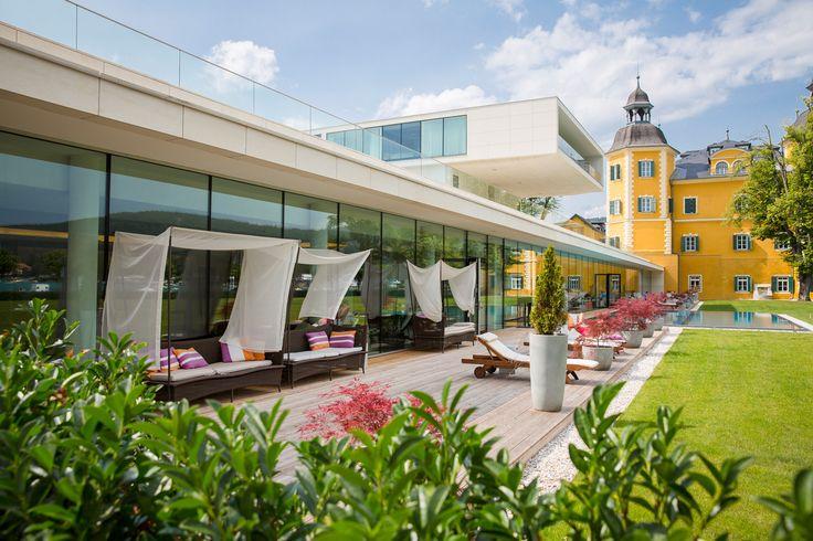 Outdoor Wellness area - It is time to relax in a beatuiful atmosphere.  http://www.falkensteiner.com/de/hotel/schloss-hotel-velden/wellness-velden#site