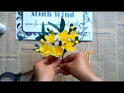 Hướng dẫn làm hoa mai vàng từ giấy nhún - YouTube
