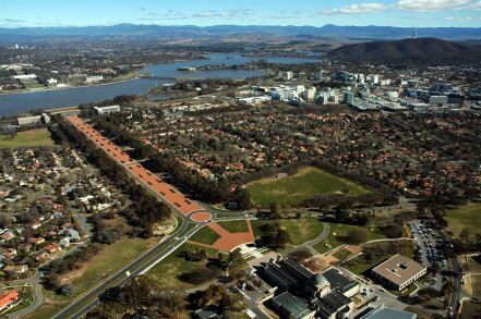Arial view of ANZAC Parade and Canberra City