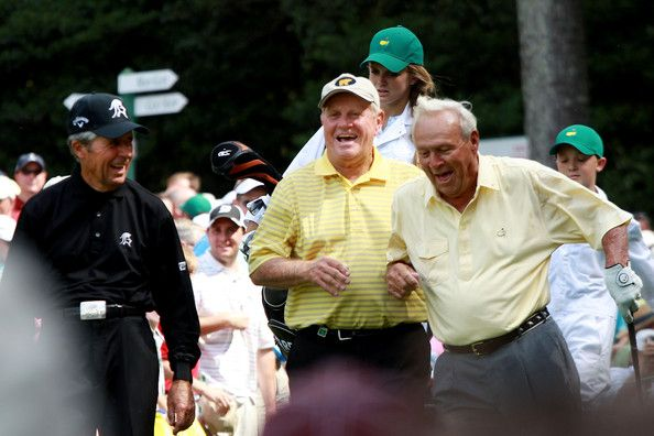 Arnold Palmer and Jack Nicklaus Photos Photos - (L-R) Gary Player of South Africa, Jack Nicklaus and Arnold Palmer walk off a tee box during the Par 3 Contest prior to the 2010 Masters Tournament at Augusta National Golf Club on April 7, 2010 in Augusta, Georgia. - The Masters - Preview Day Three