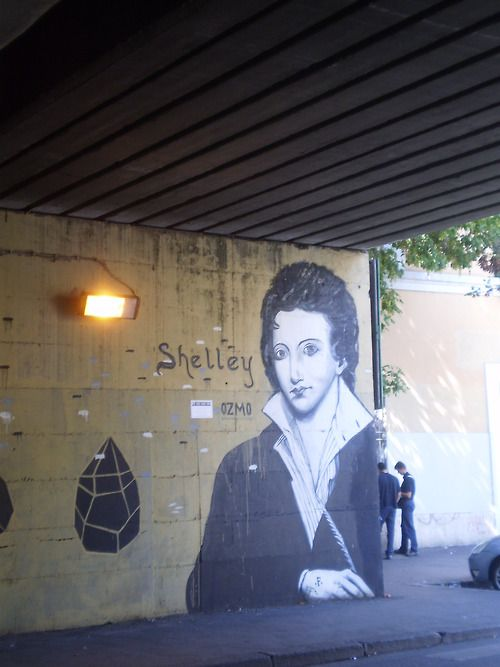 Street art in Rome, near the Protestant Cemetery (also portraits of Keats and Gramsci)