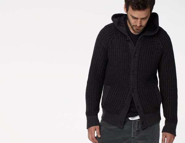 CHUNKY KNIT HOODED CARDIGAN - MEN - James Perse - MNC2179