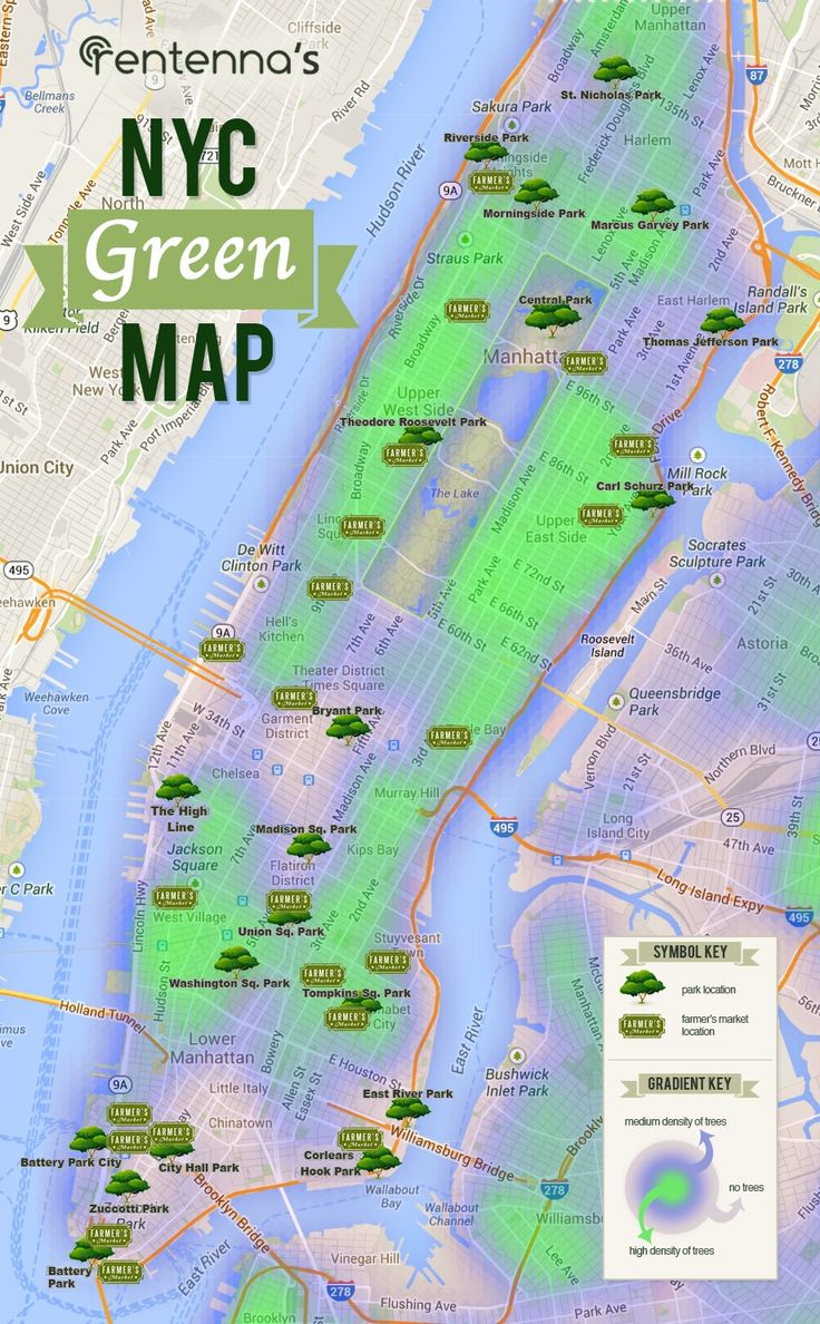 nyc green map visualizing all of manhattans trees farmers markets and major public parks