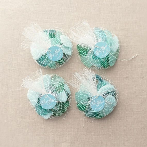 These sea-glass candy wedding favors resemble the real deal at parties on (and off) the beach.