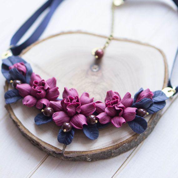 Navy Blue Statement Necklace with Magenta Flowers, Bib Necklace, Flower Jewelry