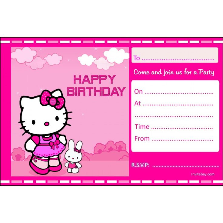 593 best printable party invites images on pinterest printable hello kitty free birthday invitation stopboris Image collections