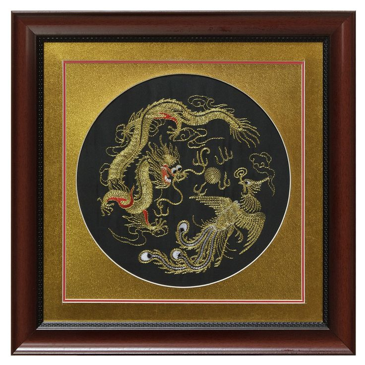 Silk Embroidery Frame with Gold Dragon and Phoenix