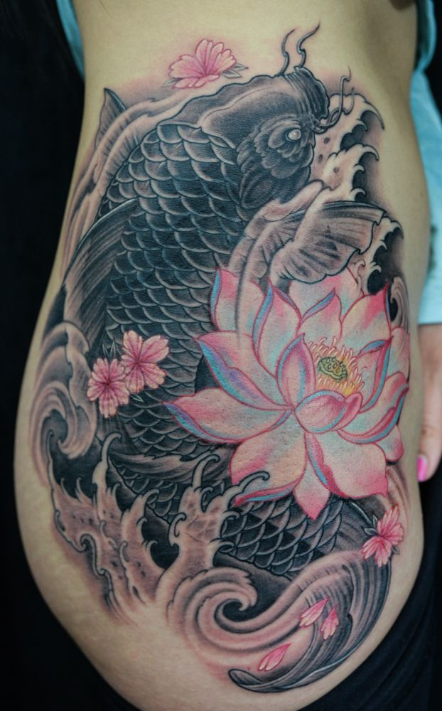 Rib to Thigh black and grey-colour Koi Fish and Lotus Flower tattoo, in progress