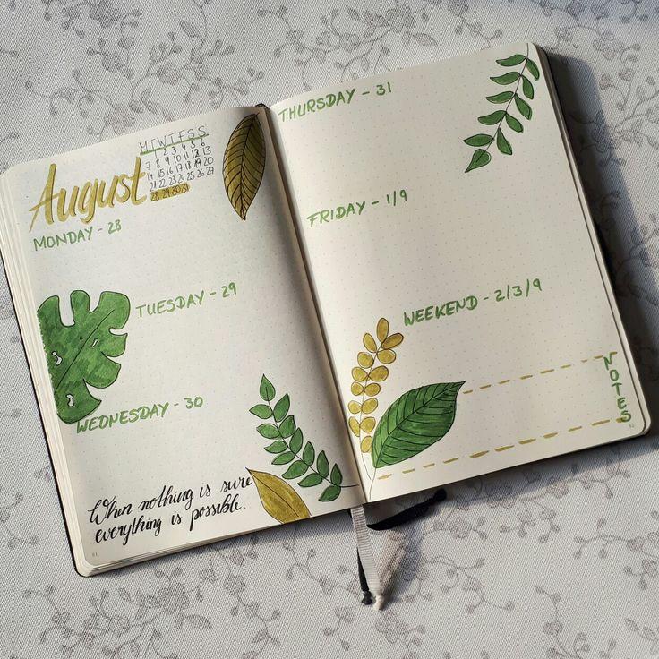 """Monthly Log im """"green leaves"""" Design. Mein Bullet Journal Set Up für die nächste Woche."""
