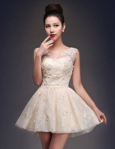 Coquetel Vestido Tamanhos Grandes Princesa Decote em U Curto / Mini Cetim / Tule…