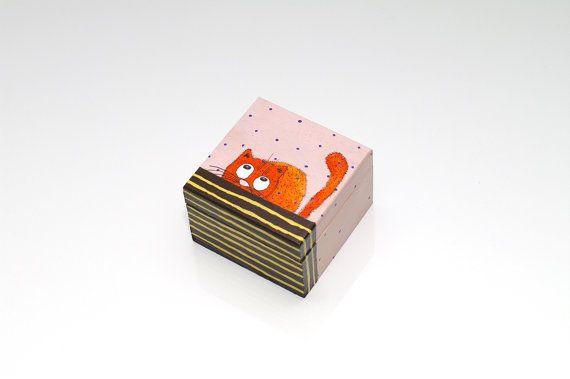 Small wood box Hand painted box Small wooden trinket by artbyasta