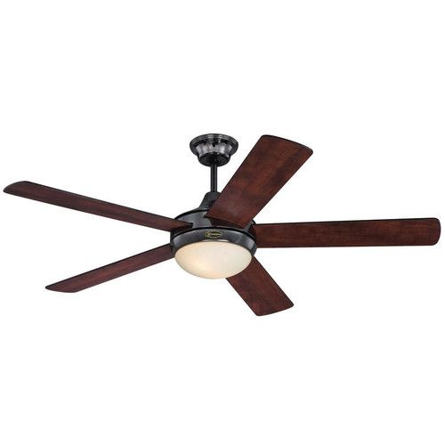 Features:  -Includes 2 light fixture, down rod, lead wire, 2 medium base light bulbs, remote control and 2 AAA batteries.  -Collection: Zander.  -5 Reversible applewood/black blades.  -Number of light