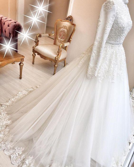 White Lace Ball Gown, Princess Wedding Dress,Fashion Bridal