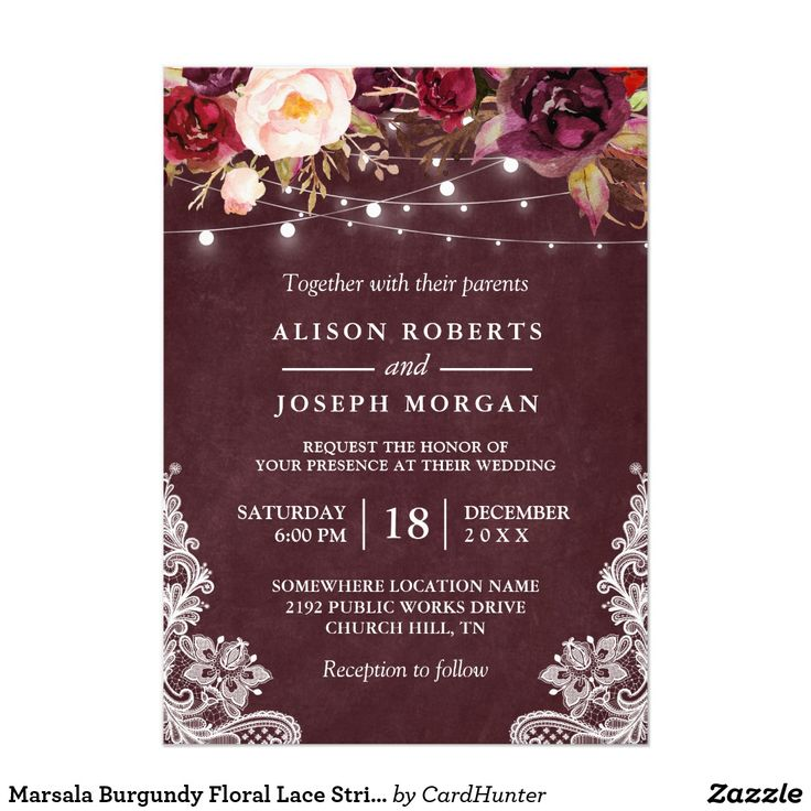 wedding invitations east london south africa%0A Marsala Burgundy Floral Lace String Lights Wedding Card