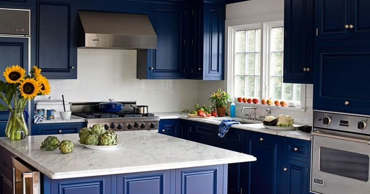 Dark Purple Cupboard Color Ideas For Awesome Kitchen With White Marble Bar Design And Glass Window - Mafindhomes.com