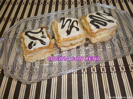 Pastelitos de milhojas de crema con cobertura....paso a paso