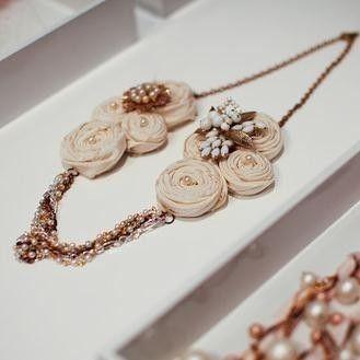 Bridal Fabric Flower Ivory Bib Statement Bridesmaid Pearl & Gold Necklace with Vintage Brooch OOAK- Rose Milkshake Necklace. $128.00, via Etsy.