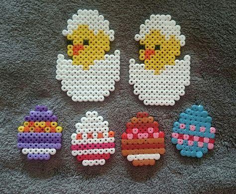 Collection personnages de Pâques en perles hama