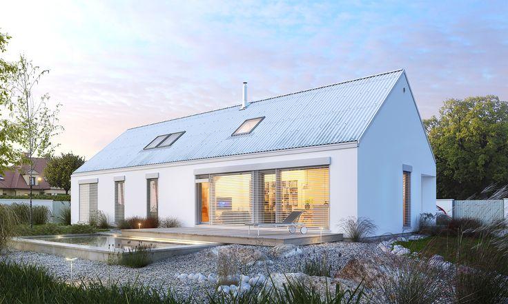 Ekonomiczny 2B - wizualizacja 2 - projekt małego domu z poddaszem użytkowym w typie nowoczesnej stodoły